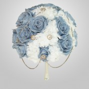 PF-400 Blue Rose & Hydrangea Wedding Bouquet