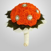 PF-440 Orange Rose Wedding Bouquet