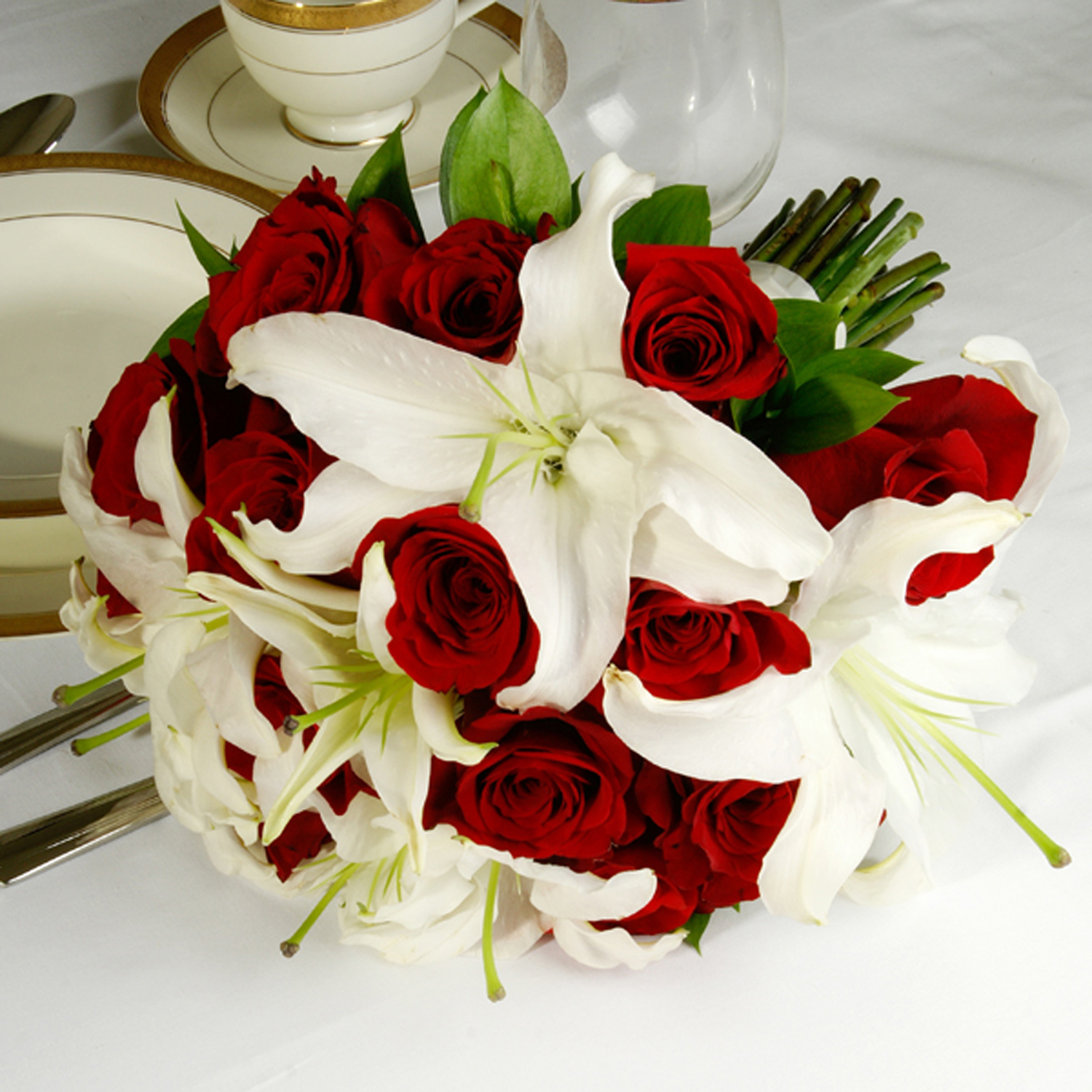 Basic Red And White Bridal Bouquet